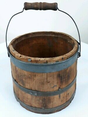 Small Primitive Antique Wooden Bucket Pail Bail Swing Handle Iron Bands Nails