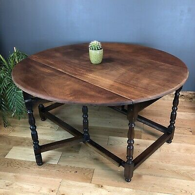 Vintage Mahogany Table Gate Leg  Dining Table Drop Leaf Kitchen Rustic Sideboard