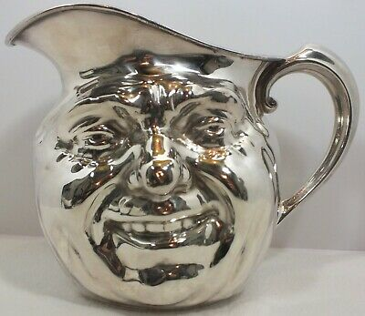 Reed & Barton 5640 Double Faced Silver Plate Sunny Jim Ugly Smiling Toby Pitcher
