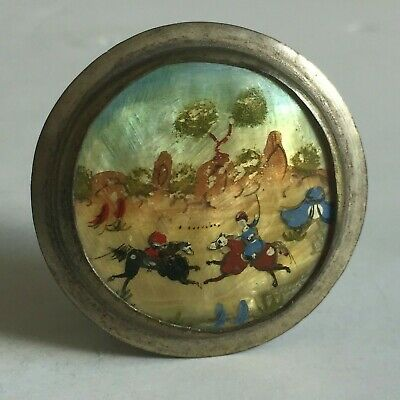 OLD Vintage PERSIAN Mother of Pearl Hand Painted Snuff Box Compact Mirror