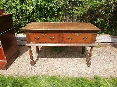 Victorian console table/side table - 2 drawers - solid oak/veneer