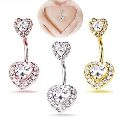 Heart Belly Bars Double Crystal Cluster Layered Love Heart Double End Belly Bar