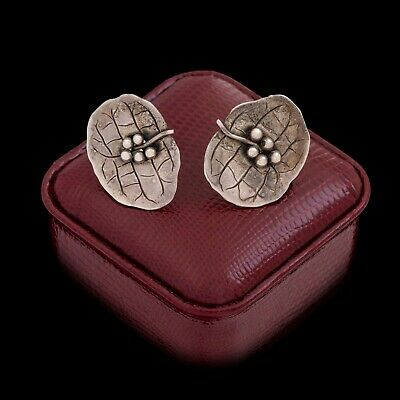 Antique Vintage Art Deco Sterling 925 Silver Lily Pad Foliate Cluster Earrings