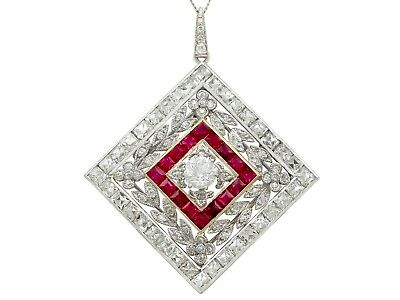 3.48 ct Diamond and 0.53 ct Ruby Platinum Pendant Brooch Antique 1900s