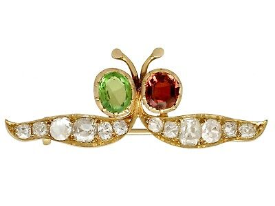 Victorian 1.23ct Kunzite and 1.12ct Peridot, 2.96ct Diamond and Gold Brooch