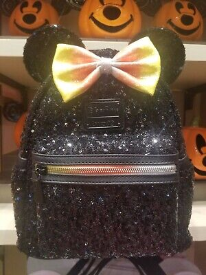 2019 Disney Parks NEW Black Sequin Candy Corn Halloween Loungefly Mini Backpack