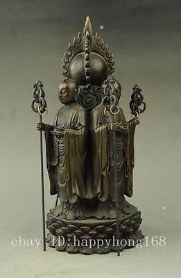 chinese old hand engraving brass all around lotus Buddha statue f02