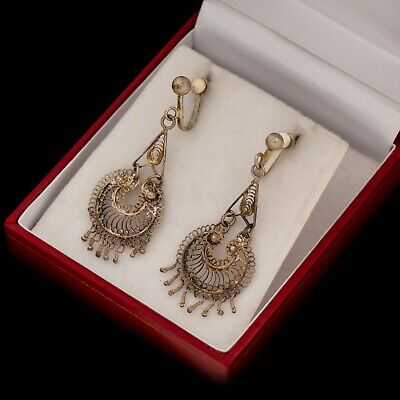 Antique Vintage Art Deco Sterling 800 Silver Etruscan Filigree Dangle Earrings
