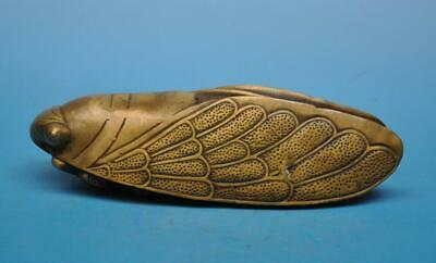 chinese old fengshui copper hand-carved cicada statue e01