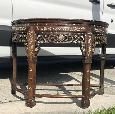 19th Century Antique Chinese Marble Top Demi-Lune Table with Mother Pearl Inlay