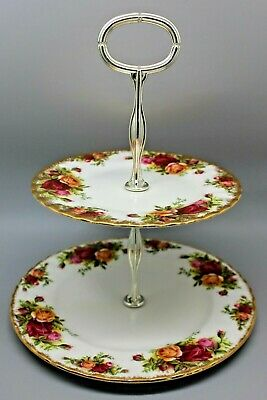 Royal Albert England Old Country Roses 2 Tiered Tidbit Dessert Tray Jewelry Tray