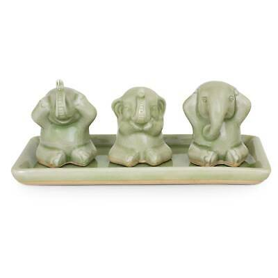 Ceramic Celadon Figurines Set 3 Green 'Elephant Life Lessons' NOVICA Thailand