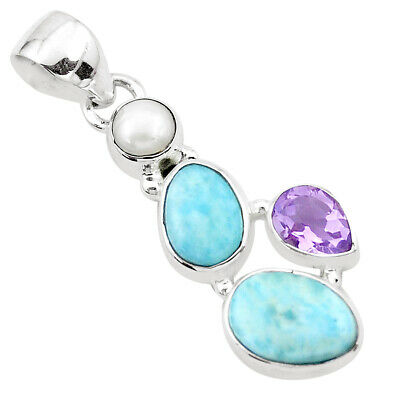 7.65cts Natural Blue Larimar Amethyst Pearl 925 Sterling Silver Pendant P20735