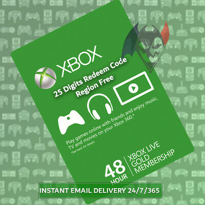 Xbox Live 48 Hours 2 Days Gold Trial - Region Free Instant Dispatch 24/7/365