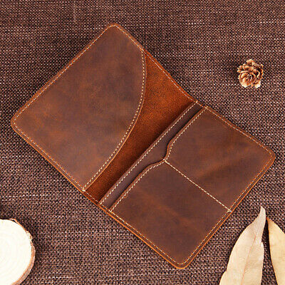 Handmade Cowhide Leather Travel Passport Holder Vintage Card Holder for Men