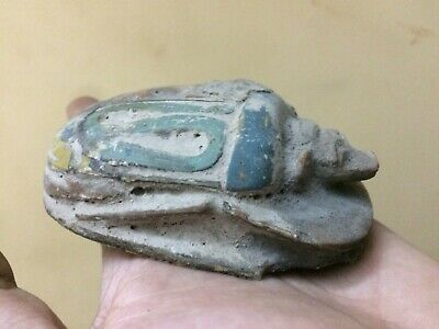Rare EGYPT EGYPTIAN ANTIQUES SCARAB Beetle STELA Relief Carved STONE BC V95