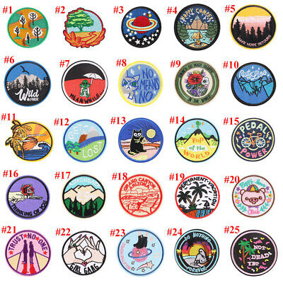 Fantastic Excellent Embroidered Iron ON Patch Fabric Applique Round Badge CO-04
