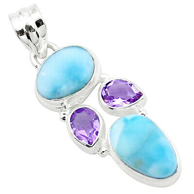 13.24cts Natural Blue Larimar Amethyst 925 Sterling Silver Pendant P25265