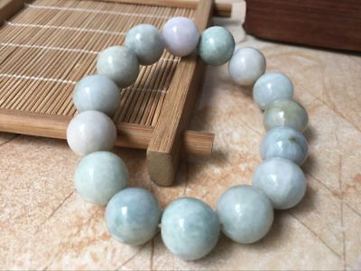 100 %Natural Grade A Jade Jadeite 12mm Beads Bangle Bracelet