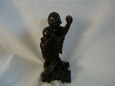 Small Antique/Victorian Vintage Carved Hard Wooden Oriental Figurine (894S1)