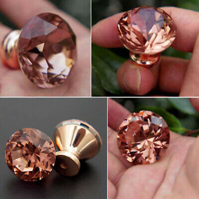 1*Rose Gold Pull Handle Rhinestone Door Knob Cabinet Drawer Cupboard Decorations