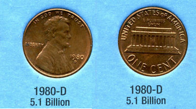 1980 D ABE Lincoln Memorial AMERICAN PENNY 1 CENT US U S AMERICA ONE COIN  #B1
