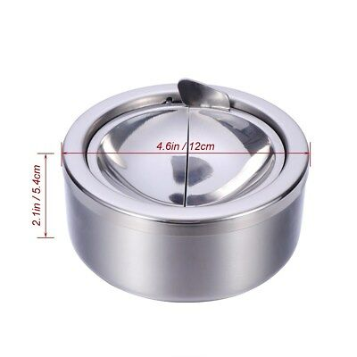 Stainless Steel Round Cigarette Lidded Ashtray Silver Windproof Cases With Lid