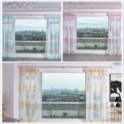 Modern Panel Floral Sheer Voile Window Curtain Drape Divider Tulle Screen LG