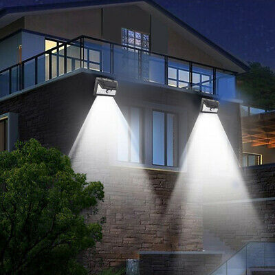 4X Solar Wall Lights PIR Motion Sensor Outdoor LED Outside Garden Security Lamps