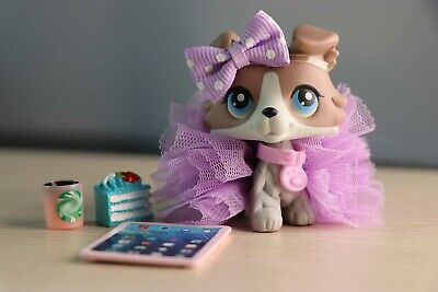 Authentic Littlest Pet Shop LPS Collie #67 Puppy With Magnet +6 Accessories