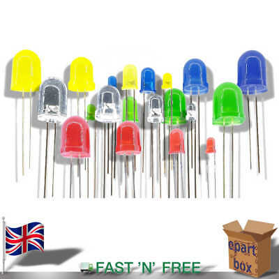 3 5 8 10 mm Round Case Ultra Bright LED Diode Red Yellow Green Blue White RGB