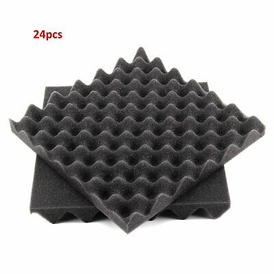 24Pcs Acoustic Wall Panels Sound Proofing Foam Pads Studio Treatments Tool
