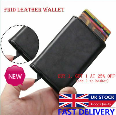 Auto Credit Card Holder Leather RFID Blocking Metal Wallet Money Clip for Men UK