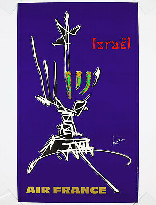 AIR FRANCE - ISRAEL, Original Travel Poster, 1968 Georges Mathieu