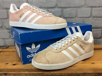 Adidas Mens Uk 6 Eu 39 1/3 Suede Gazelle Pink White Gold Trainers Ld