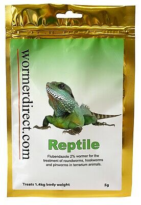 Reptile Wormer 5g, Flubendazole 2% PRODUCT NOW AVAILABLE