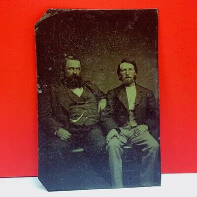 Cabinet photo antique photograph picture sepia creepy brothers western scary vtg