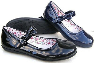 New Girls Leather Insoles Black Navy Patent Ballerinas Smart Pumps School Shoes