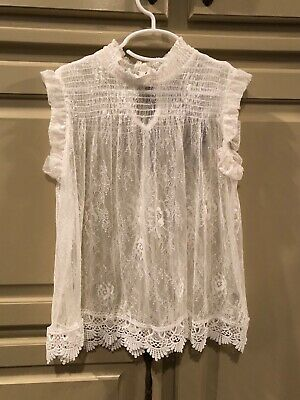 Girls Sheer Lace top - size Small - white - NWOT - by Beautees - never worn