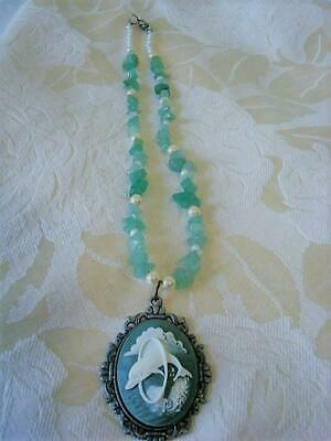 Necklace With Green Polished Stones Faux Pearls Dolphin Cameo Magnetic Clasp
