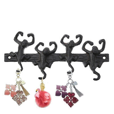 Monkey 4 Hooks Wall Key Hat Rack Antique Cast Iron Hallway Kitchen Towel Holder