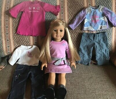 American Girl Doll Truly Me Long Blonde Hair Hazel Green Eyes Extra Clothes! VGC