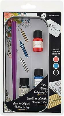 Manuscript Deluxe Modern Calligraphy Set Dip Pen 3 Nibs & 3 Colour Inks MDP401
