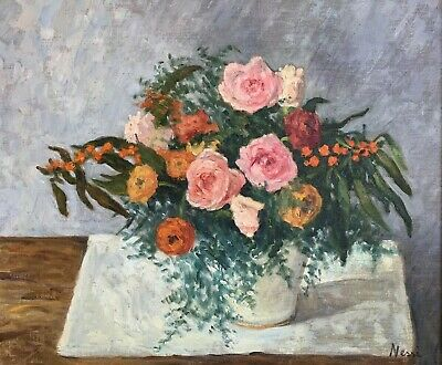 Marie Nessie Valtat (1910-1992) Signed French Post Impressionist Oil - Flowers