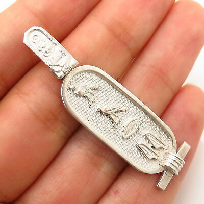 925 Sterling Silver Vintage Egyptian Cartouche Design Pendant