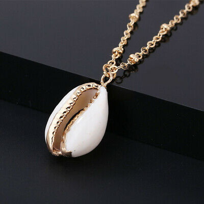 Natural Bohemian Beach Sea Shell Cowrie Pendant Charm Chain Necklace Jewelry CO