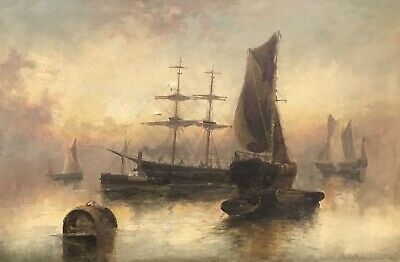 F. E. Jamieson (1895-1950) Signed Antique Marine Oil Painting -Tall Ships At Sea