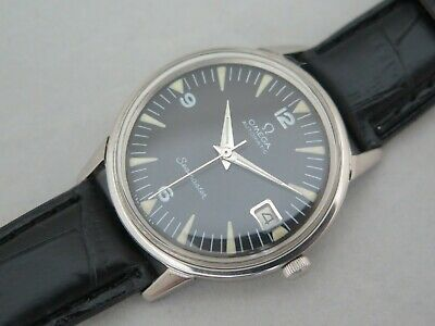 Vintage OMEGA Seamaster Automatic Date 565 Black Military Dial Glows Men Watch