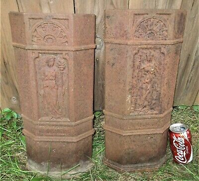 Two Antique Victorian Lady Cast Iron Fireplace Home Hearth Stove Fire Art Panels