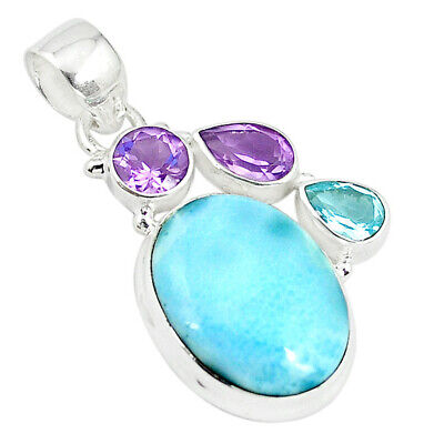 925 Sterling Silver Natural Blue Larimar Amethyst Topaz Pendant Jewelry M23240